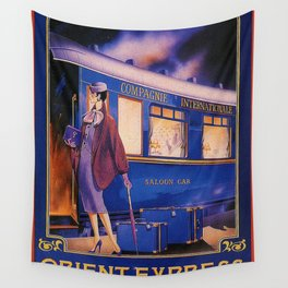 Vintage Orient Express Steam Engine Train Travel Poster Wall Tapestry