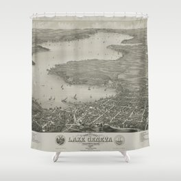 Vintage Pictorial Map of Lake Geneva WI (1882) Shower Curtain