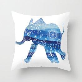 cute baby elephant mandala art Throw Pillow