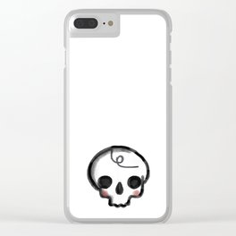 My Skully Friend - digital mixed media illustrated skeleton Clear iPhone Case