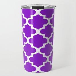 Arabesque Architecture Pattern In Purple Travel Mug