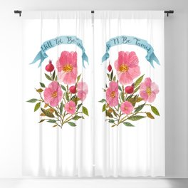 Will Not Be Tamed Floral Watercolor Blackout Curtain