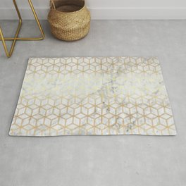 Geometric Hive Mind Pattern - Marble & Gold #510 Rug