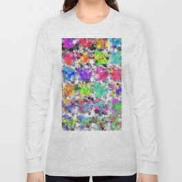 colorful psychedelic splash painting abstract texture in pink blue purple green yellow red orange Long Sleeve T-shirt