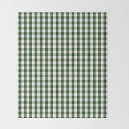 Dark Forest Green and White Gingham Check Throw Blanket