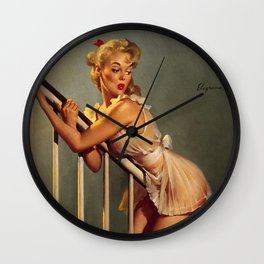 Pin Up Girl on Stair Banister Vintage Art Wall Clock