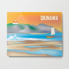 Okinawa, Japan - Skyline Illustration by Loose Petals Metal Print