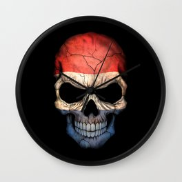 Dark Skull with Flag of The Netherlands Wall Clock