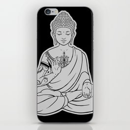 Sitting Buddha is blessing on blissful meditation iPhone Skin