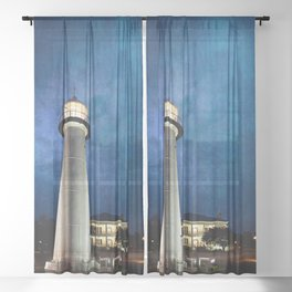 Lighthouse Blues Sheer Curtain