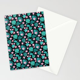 Pink green watercolor modern tropical monster leaves Stationery Cards