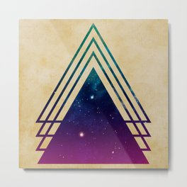 Cool Space Triangles on Grunge Background Metal Print