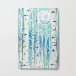 Moonlight Birch - Forest at Night Metal Print