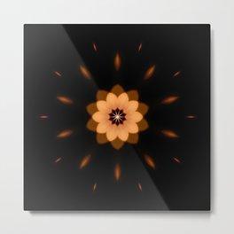 Fall Bronze Flower Mandala Design Metal Print