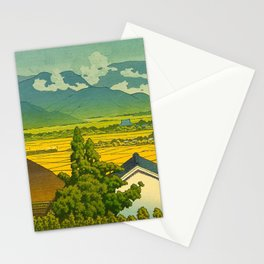 Kawase Hasui Vintage Japanese Woodblock Print Beautiful Mountain Valley Farmland Yellow Hues Stationery Cards