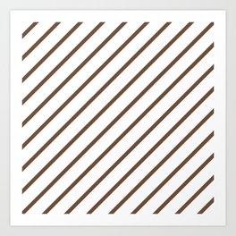 Diagonal Lines (Coffee/White) Art Print