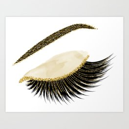 Glittery gold  lashes Art Print