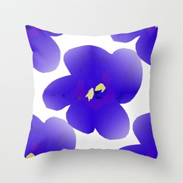 Large Retro Blue Flowers #1 White Background #decor #society6 #buyart Throw Pillow