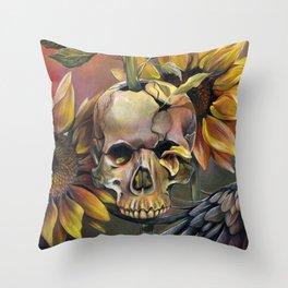 Summer Skull Throw Pillow