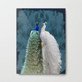 White Peacock and Blue Peacock Bird A732 Metal Print