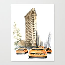 Architecture sketch of the Flatiron building in New york Canvas Print