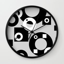 Rings ad rectangles black & white Wall Clock