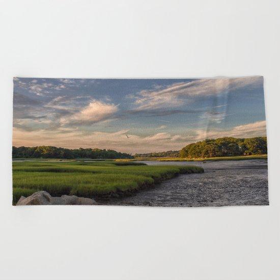 Summer Marsh Sunset Beach Towel