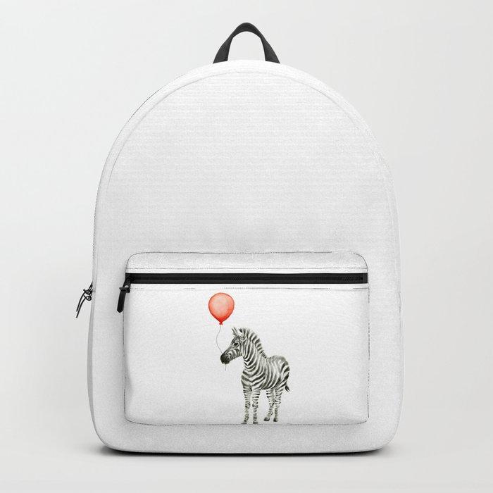Baby Zebra Whimsical Animal with Red Balloon Nursery Art Backpack