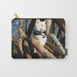 Cute White Kitten Loves the Outdoors Carry-All Pouch