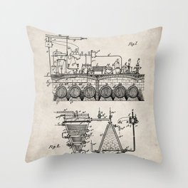 Brewing Beer Patent - Beer Art - Antique Throw Pillow
