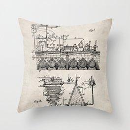 Brewing Beer Patent - Beer Art - Antique Throw Pillow