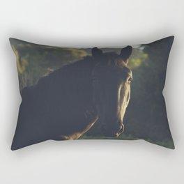 Wild stallion photo, black horse and italian sunset, original print for animal lovers, landscape Rectangular Pillow