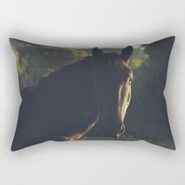 Wild stallion photo, black horse and italian sunset, original print for animal lovers, landscape Rectangular Pillow