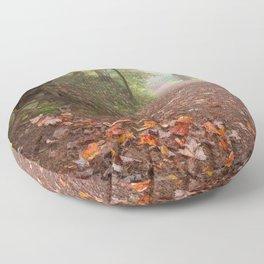 Misty Autumn Trail Floor Pillow