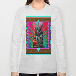 COLORFUL DESERT AGAVE CACTUS PAINTING Long Sleeve T-shirt