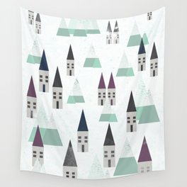 Village on winter Wall Tapestry