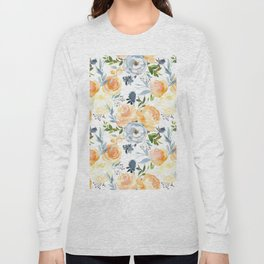 Blush gray orange watercolor hand painted floral Long Sleeve T-shirt