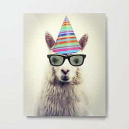 Party Alpaca Metal Print