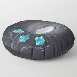 Full Moon and Blossoms Floor Pillow