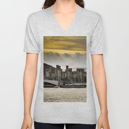 Sunset at Conwy Castle, North Wales Unisex V-Neck