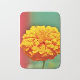 Yellow Orange Zinnia Bath Mat
