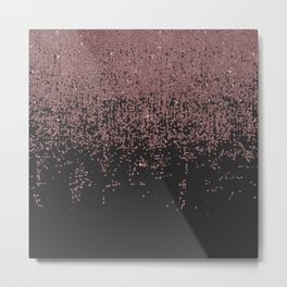 Chic Rose Gold Speckled Glitter Ombre Black Metal Print