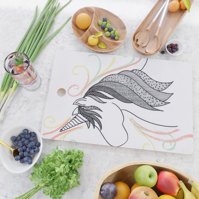 Patterned Unicorn Cutting Board