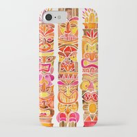 tiki iPhone & iPod Cases featuring Tiki Totems – Fiery Palette by Cat Coquillette