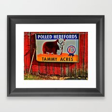 Hereford Cow Barn sign Framed Art Print