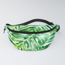 Monstera and palm watercolor Fanny Pack