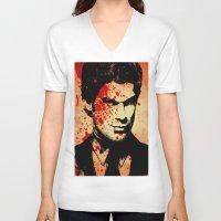 dexter V-neck T-shirts featuring Dexter by 2b2dornot2b