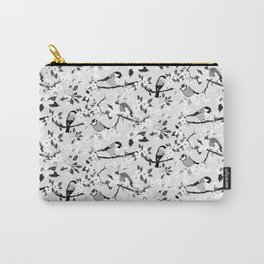 Black and White Blossom and Birds Pattern Carry-All Pouch