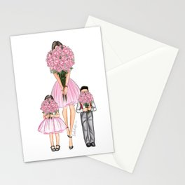 Mother's day little boy and girl dark hair fair skin Stationery Cards