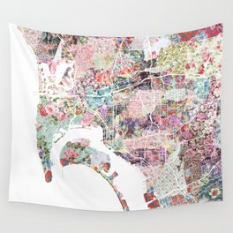 San Diego map flowers Wall Tapestry